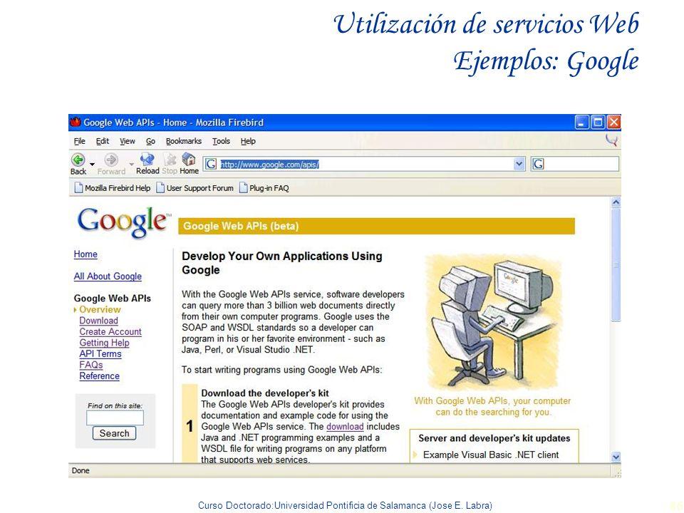 Utilización de servicios Web Ejemplos: Google