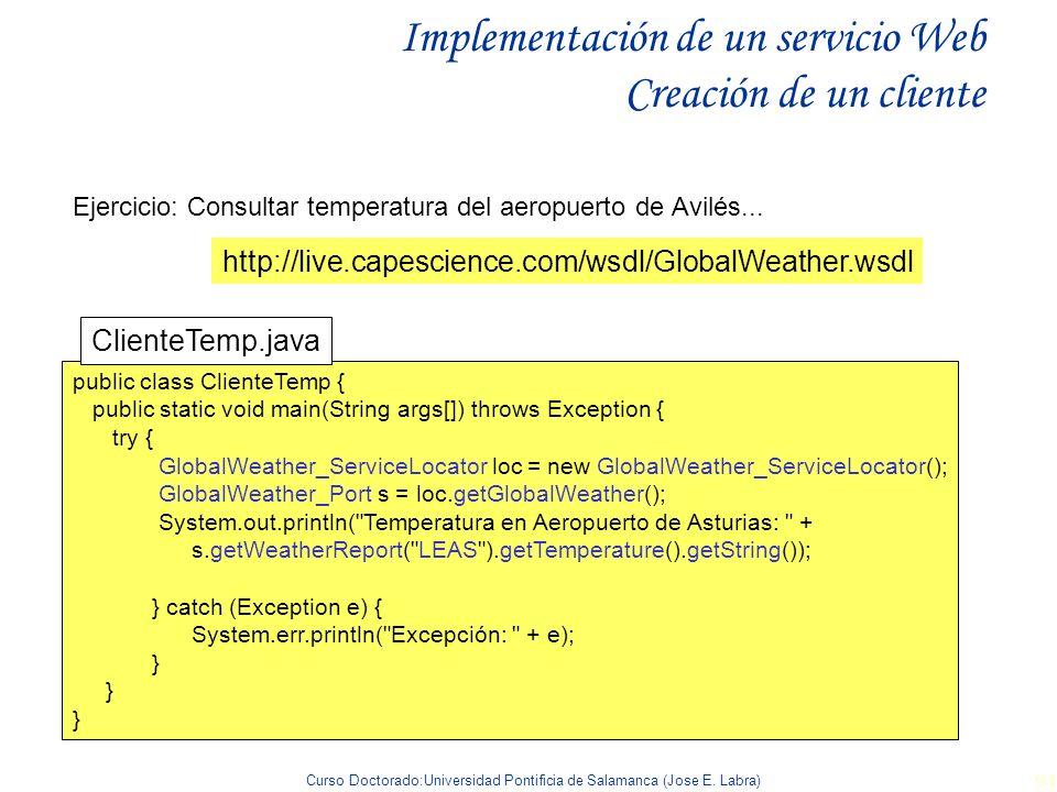 Implementación de un servicio Web Creación de un cliente