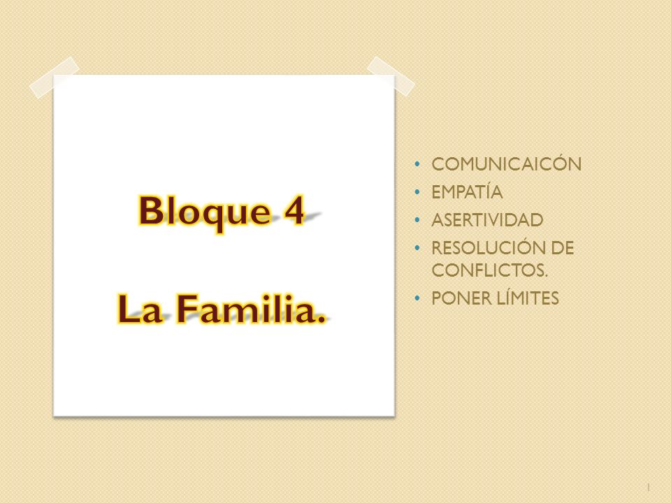 Bloque 4 La Familia. COMUNICAICÓN EMPATÍA ASERTIVIDAD