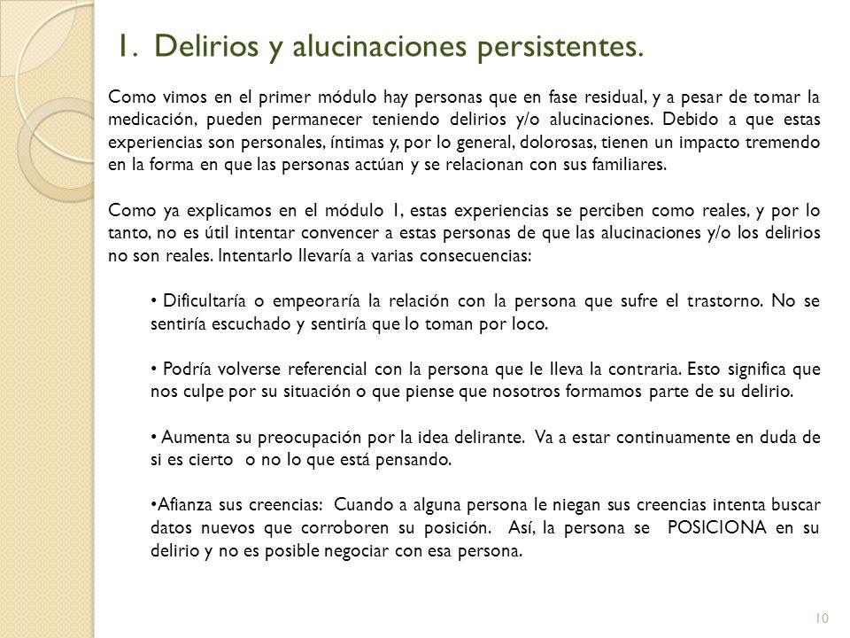 1. Delirios y alucinaciones persistentes.