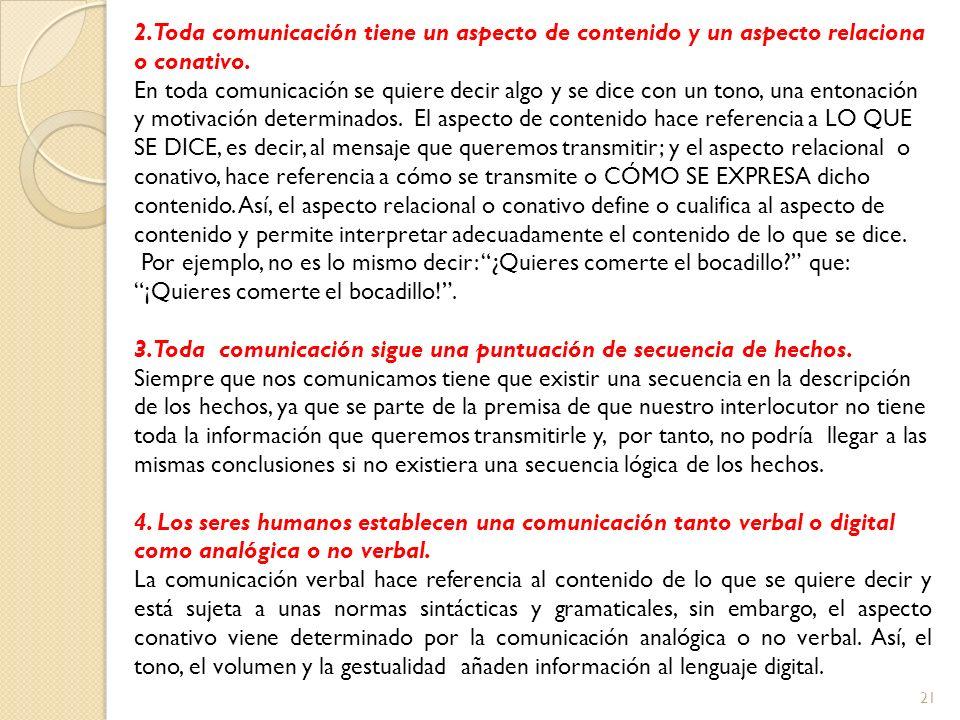 2. Toda comunicación tiene un aspecto de contenido y un aspecto relaciona o conativo.