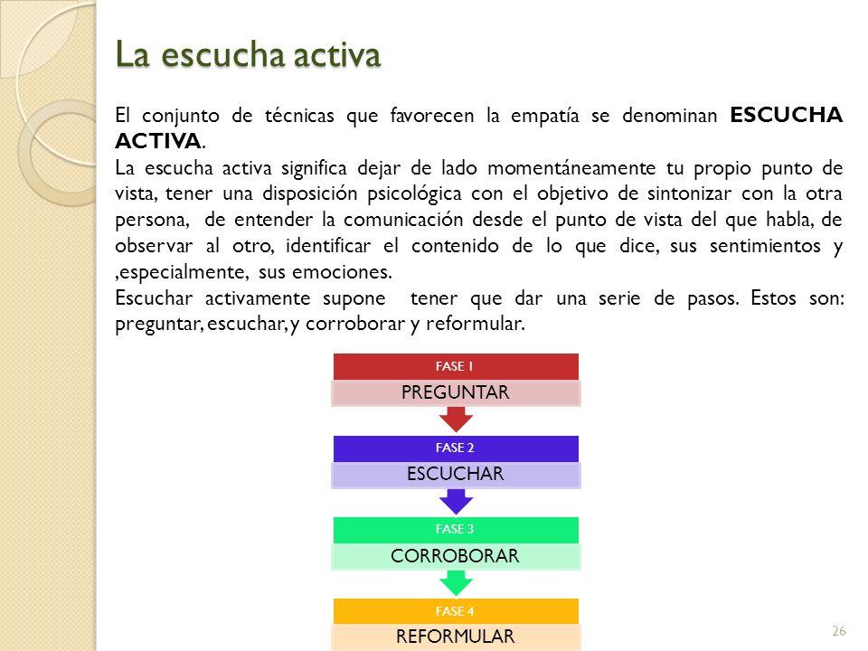 La escucha activa El conjunto de técnicas que favorecen la empatía se denominan ESCUCHA ACTIVA.