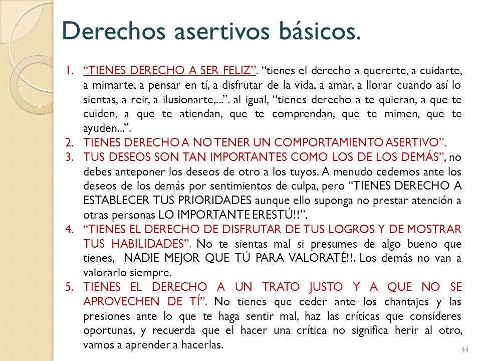 Derechos asertivos básicos.