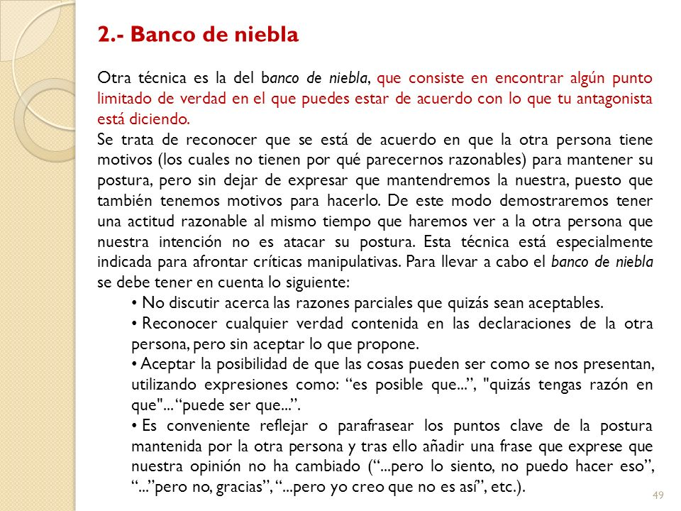 2.- Banco de niebla