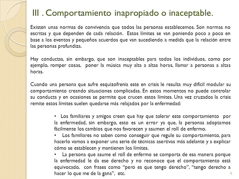 III . Comportamiento inapropiado o inaceptable.