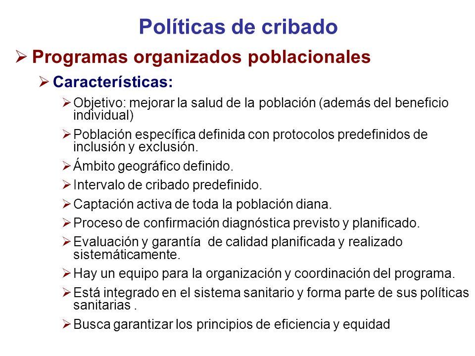 Políticas de cribado Programas organizados poblacionales
