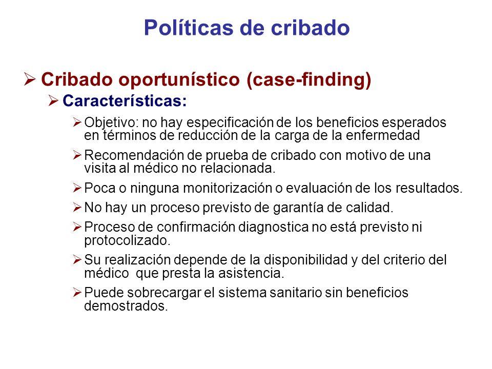 Políticas de cribado Cribado oportunístico (case-finding)