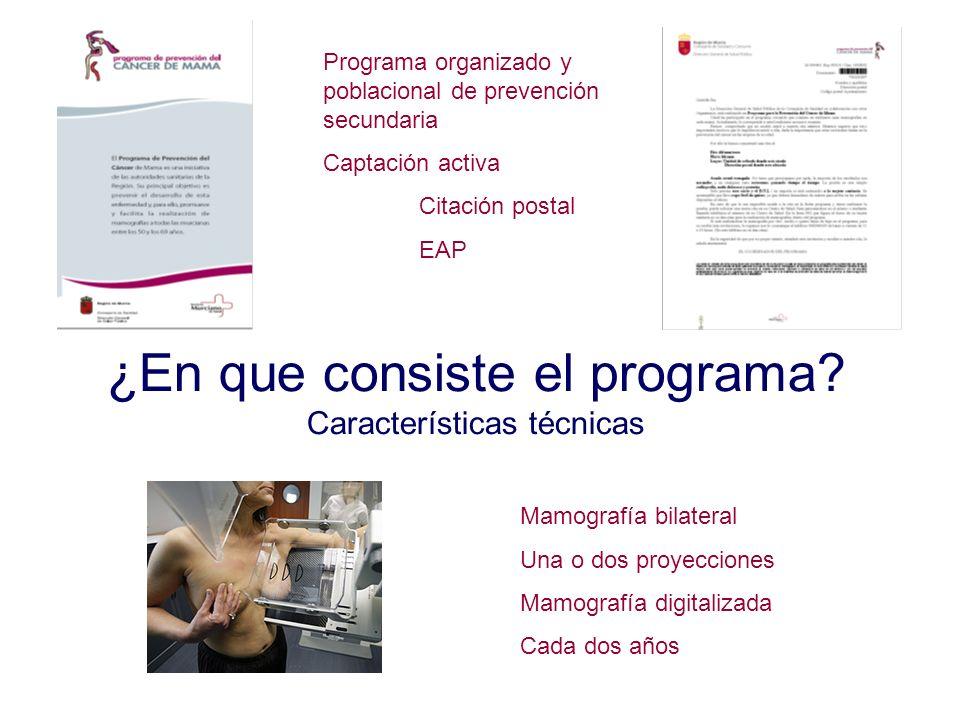 ¿En que consiste el programa Características técnicas