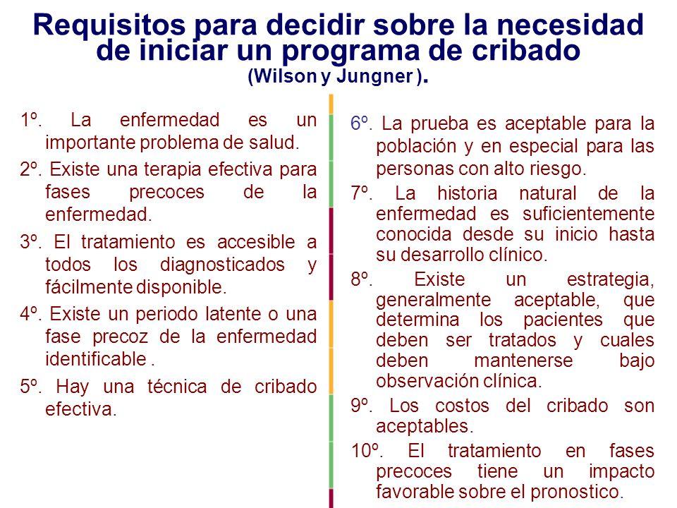 Requisitos para decidir sobre la necesidad de iniciar un programa de cribado (Wilson y Jungner ).