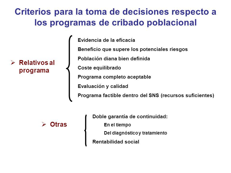 Criterios para la toma de decisiones respecto a los programas de cribado poblacional