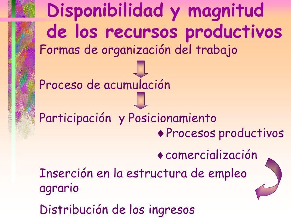 Disponibilidad y magnitud de los recursos productivos