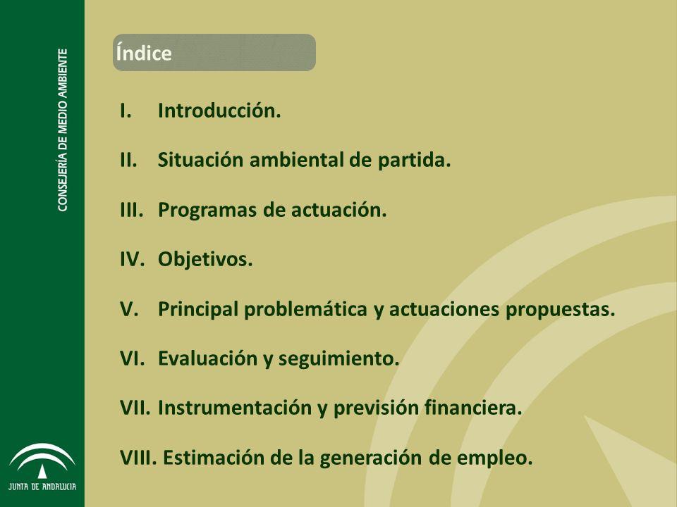 Índice Introducción. Situación ambiental de partida. Programas de actuación. Objetivos. Principal problemática y actuaciones propuestas.