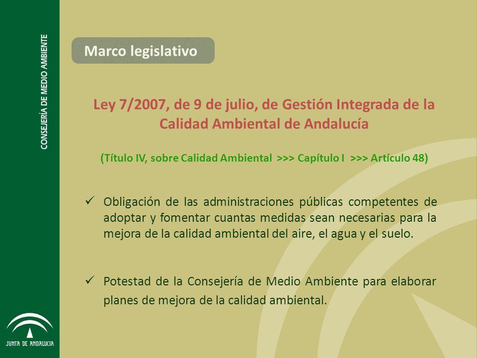 Marco legislativo Ley 7/2007, de 9 de julio, de Gestión Integrada de la Calidad Ambiental de Andalucía.