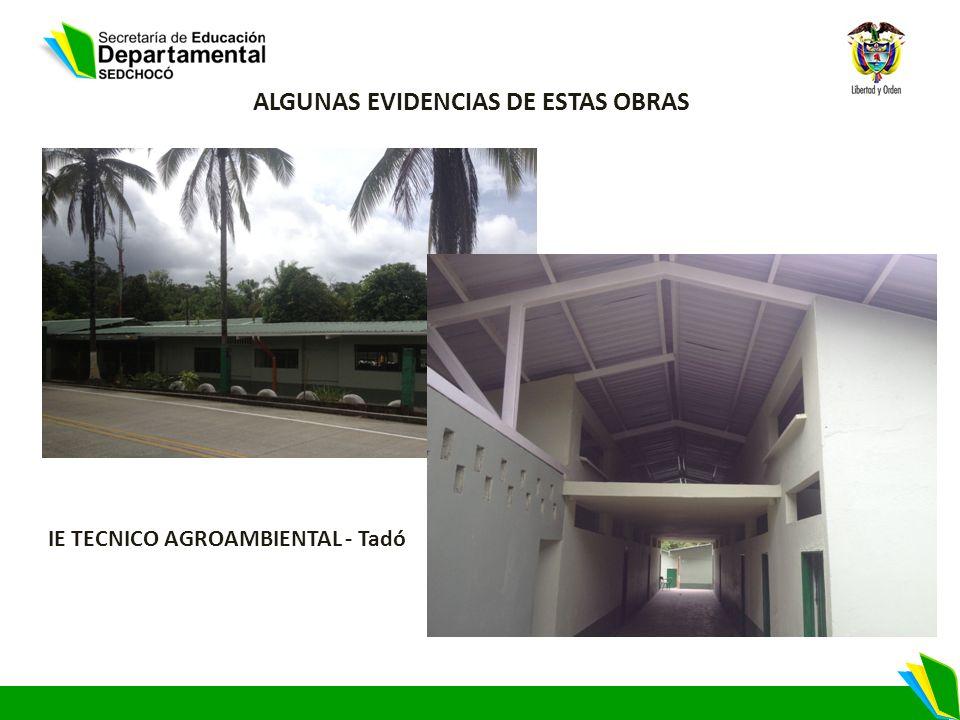 ALGUNAS EVIDENCIAS DE ESTAS OBRAS IE TECNICO AGROAMBIENTAL - Tadó