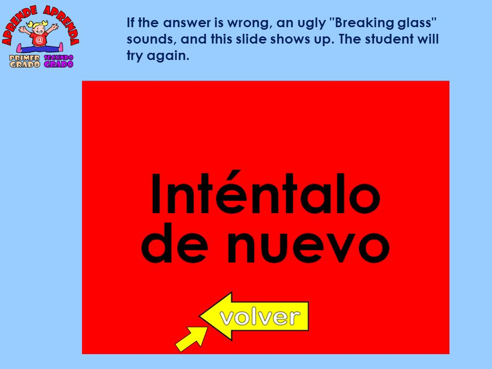 If the answer is wrong, an ugly Breaking glass sounds, and this slide shows up.