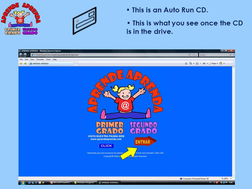 This is an Auto Run CD. This is what you see once the CD is in the drive.