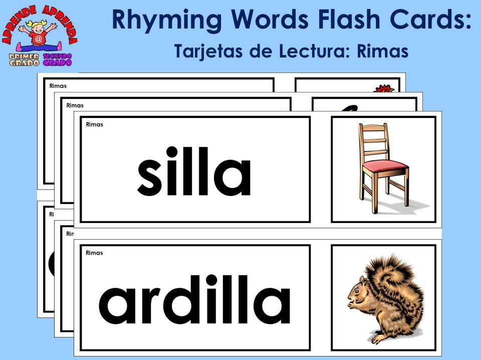 Rhyming Words Flash Cards: Tarjetas de Lectura: Rimas