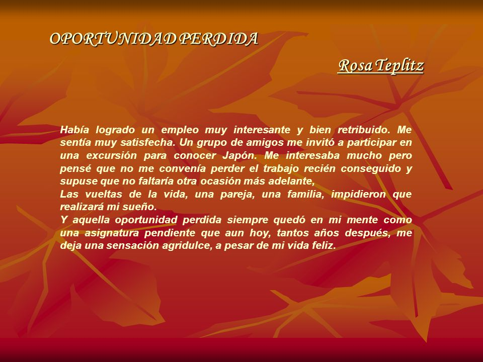 OPORTUNIDAD PERDIDA Rosa Teplitz