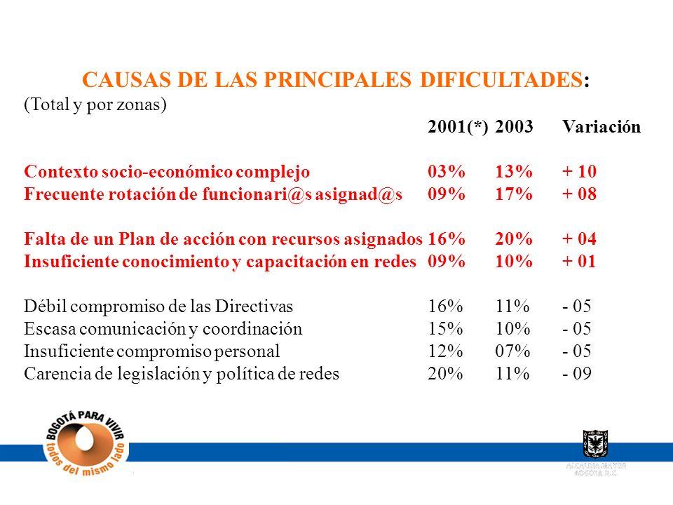 CAUSAS DE LAS PRINCIPALES DIFICULTADES: