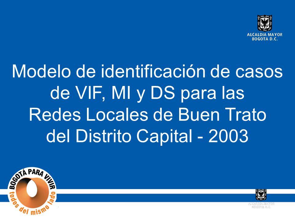 Modelo de identificación de casos de VIF, MI y DS para las Redes Locales de Buen Trato del Distrito Capital - 2003