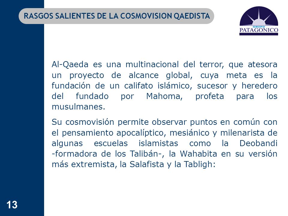 RASGOS SALIENTES DE LA COSMOVISION QAEDISTA