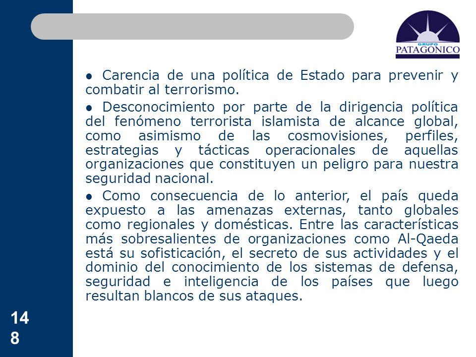 Carencia de una política de Estado para prevenir y combatir al terrorismo.