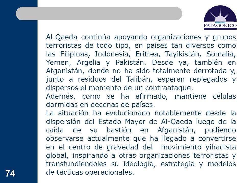 Al-Qaeda continúa apoyando organizaciones y grupos terroristas de todo tipo, en países tan diversos como las Filipinas, Indonesia, Eritrea, Tayikistán, Somalia, Yemen, Argelia y Pakistán. Desde ya, también en Afganistán, donde no ha sido totalmente derrotada y, junto a residuos del Talibán, esperan replegados y dispersos el momento de un contraataque.