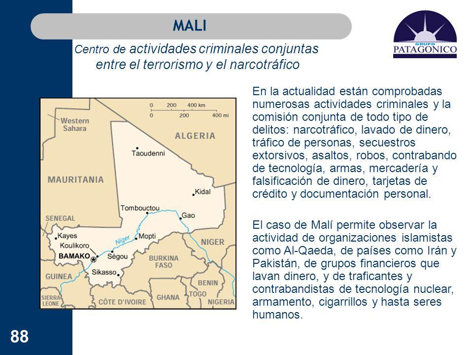 MALI Centro de actividades criminales conjuntas entre el terrorismo y el narcotráfico.