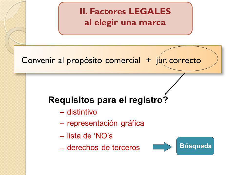 II. Factores LEGALES al elegir una marca