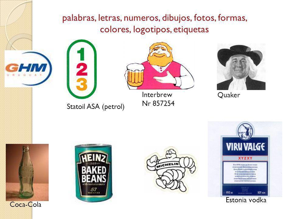 palabras, letras, numeros, dibujos, fotos, formas, colores, logotipos, etiquetas