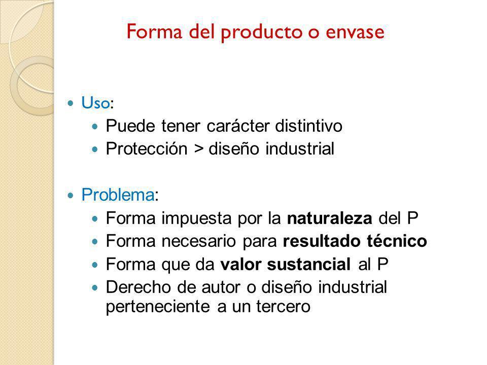 Forma del producto o envase