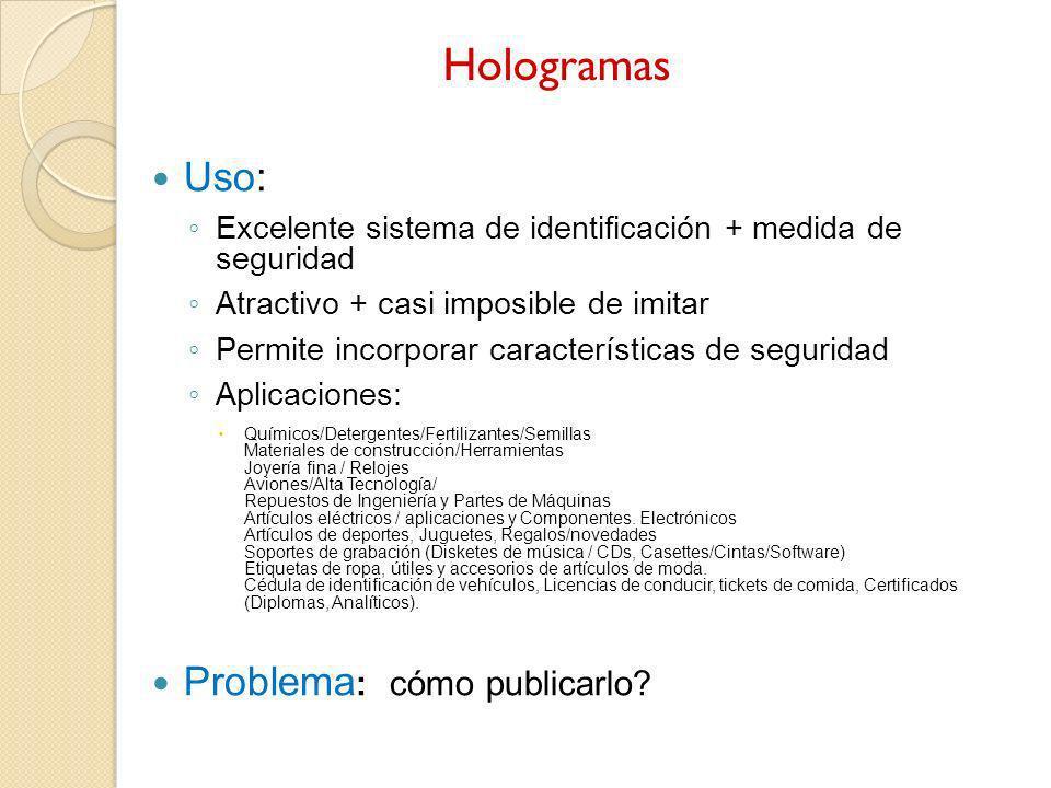 Hologramas Uso: Problema: cómo publicarlo