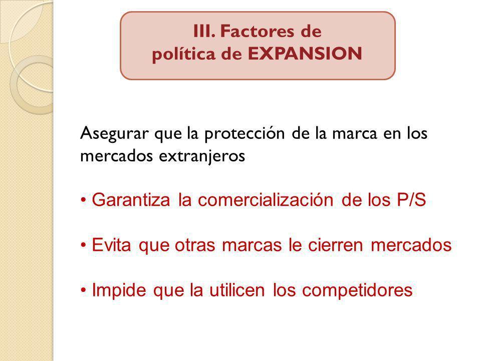 III. Factores de política de EXPANSION. Asegurar que la protección de la marca en los mercados extranjeros.