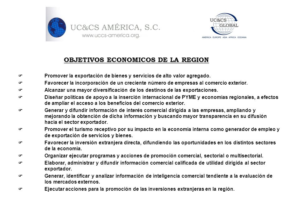 OBJETIVOS ECONOMICOS DE LA REGION