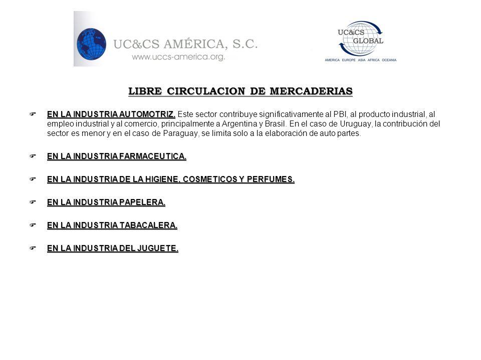LIBRE CIRCULACION DE MERCADERIAS