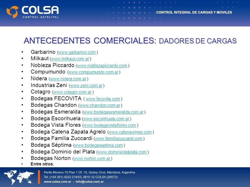 ANTECEDENTES COMERCIALES: DADORES DE CARGAS