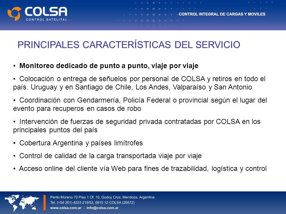 PRINCIPALES CARACTERÍSTICAS DEL SERVICIO