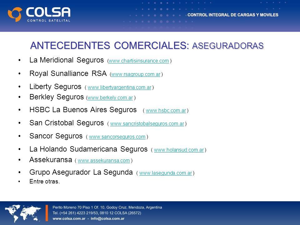 ANTECEDENTES COMERCIALES: ASEGURADORAS