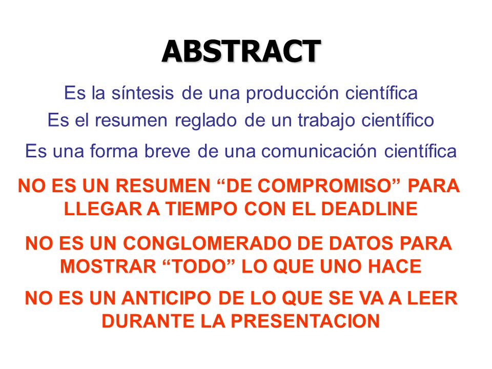 ABSTRACT Es la síntesis de una producción científica