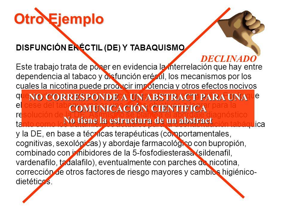 Otro Ejemplo DECLINADO NO CORRESPONDE A UN ABSTRACT PARA UNA