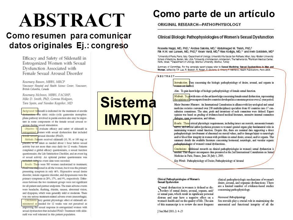 ABSTRACT Sistema IMRYD Como parte de un artículo