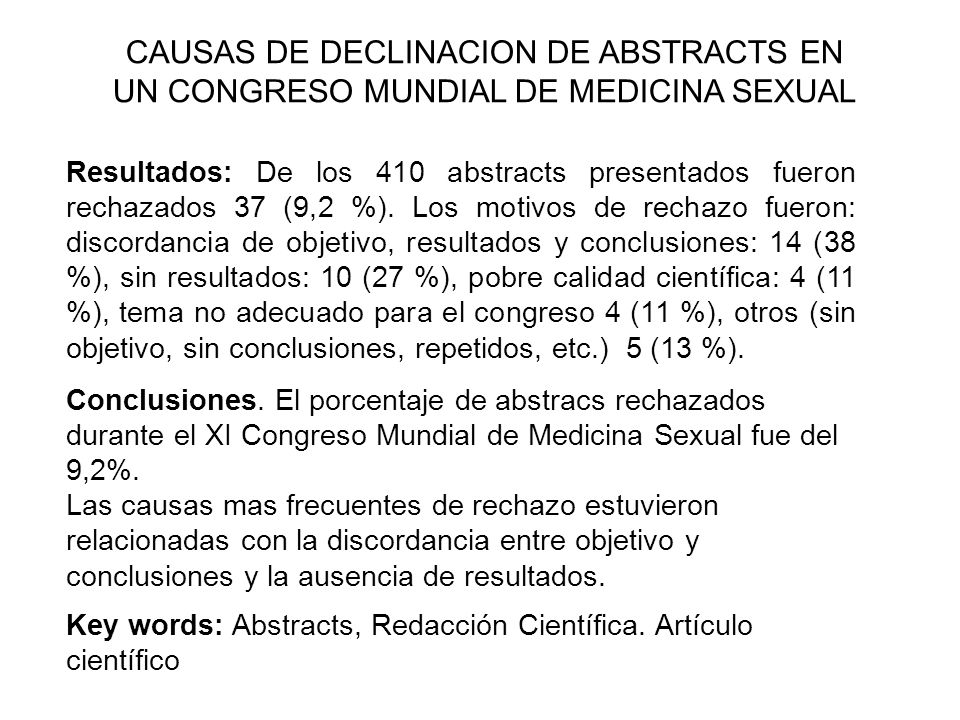 CAUSAS DE DECLINACION DE ABSTRACTS EN