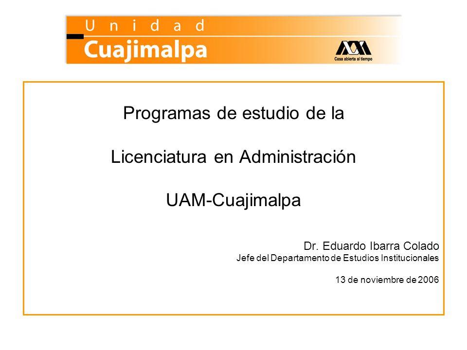 Programas de estudio de la Licenciatura en Administración