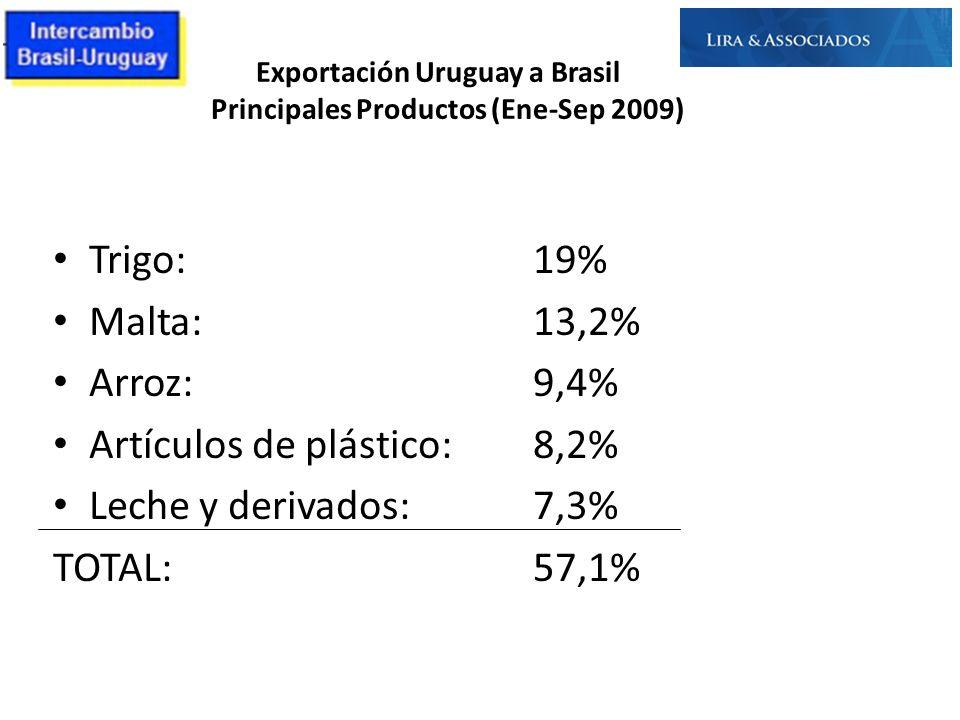 Exportación Uruguay a Brasil Principales Productos (Ene-Sep 2009)