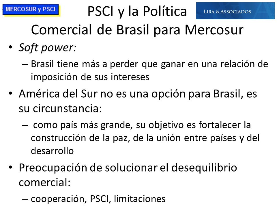 PSCI y la Política Comercial de Brasil para Mercosur