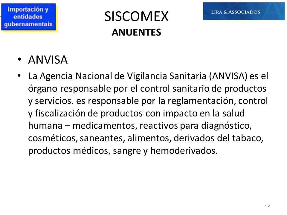 SISCOMEX ANUENTES ANVISA