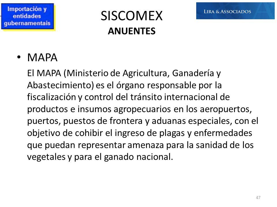SISCOMEX ANUENTES MAPA
