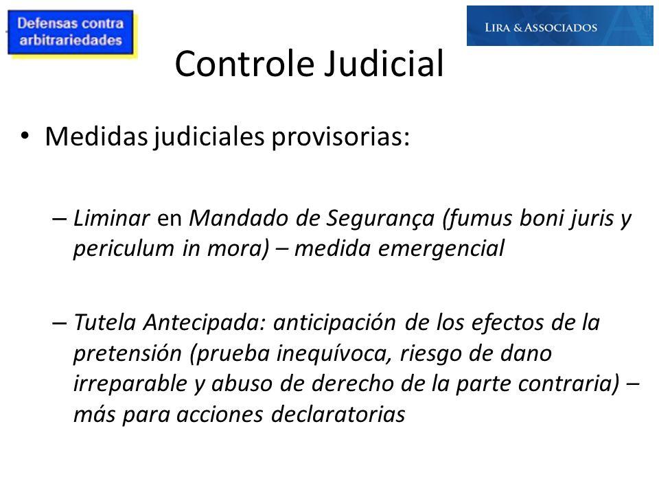 Controle Judicial Medidas judiciales provisorias: