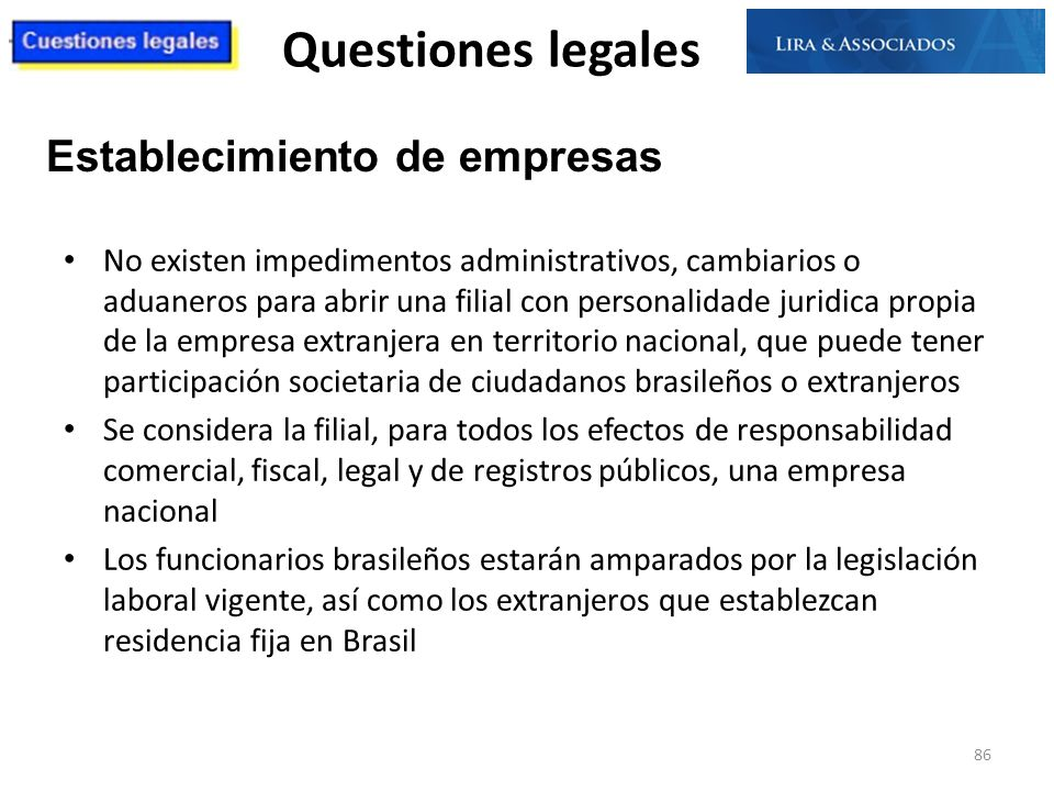 Questiones legales Establecimiento de empresas