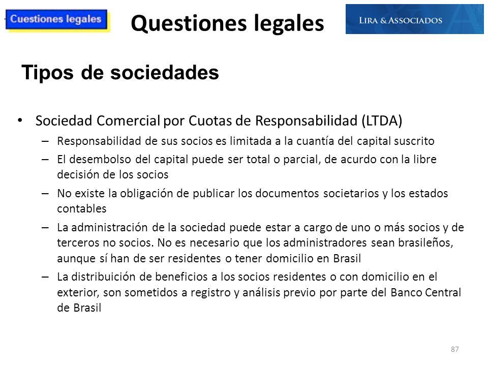 Questiones legales Tipos de sociedades